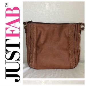 Handbags - NWOT JustFab Tan Leather Tote Bag